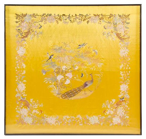 * A Chinese Embroidered Silk Panel