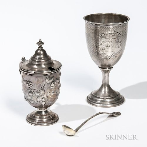 Two Pieces of American Coin Silver Tableware