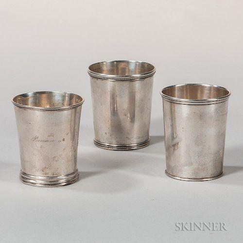 Three American Coin Silver Julep Cups