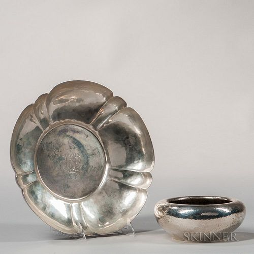 Two Pieces of Hammered Sterling Silver Tableware