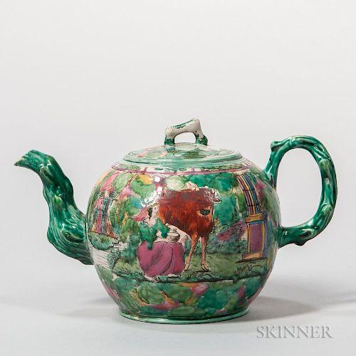 Staffordshire Enameled White Salt-glazed Stoneware Teapot and Cover
