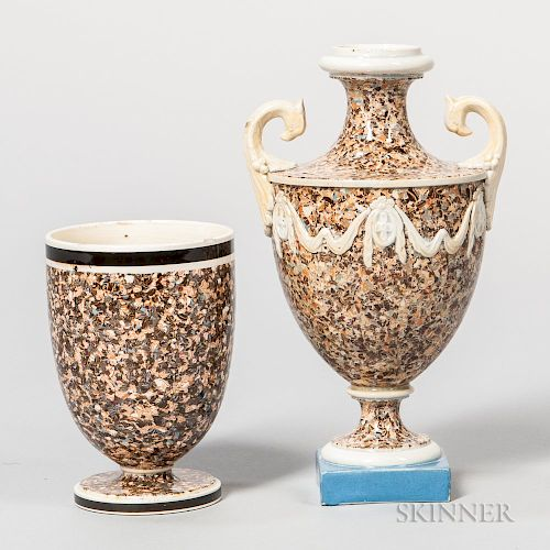 Two Variegated Agate Vases