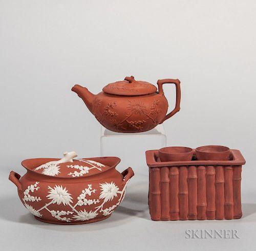 Three Wedgwood Rosso Antico Items