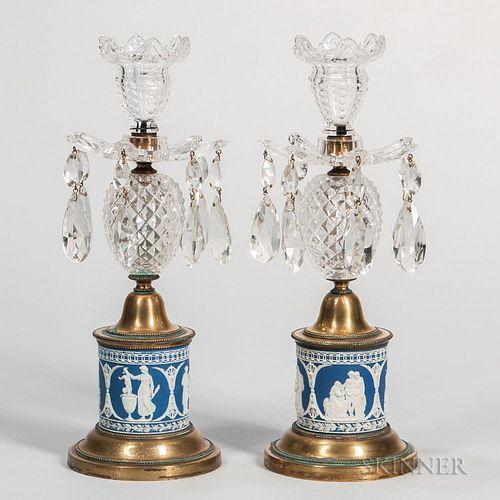 Pair of Blue Jasper-mounted Lustres