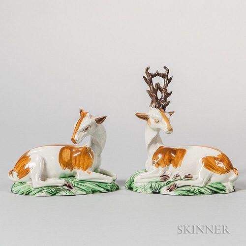 Pair of Ralph Wood-type Figures of Reclining Deer