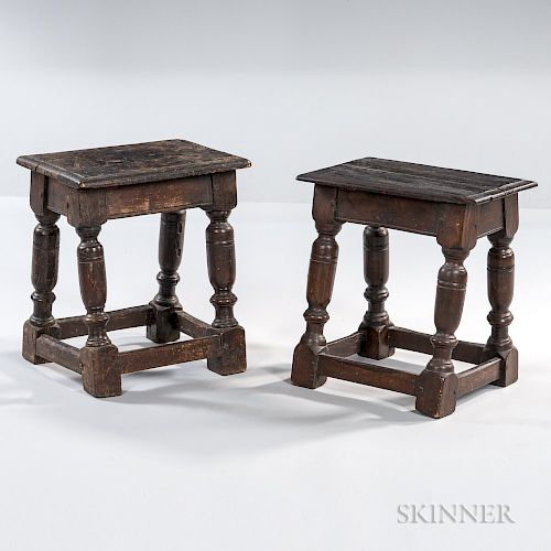 Two Oak Joint Stools