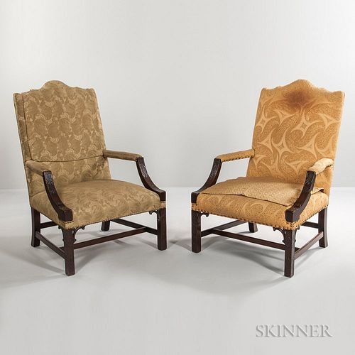 Pair of Georgian-style Upholstered Mahogany Library Armchairs