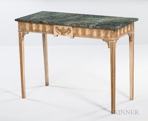 Neoclassical Marble-top Gray-painted and Parcel-gilt Console