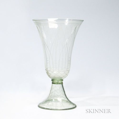 """Whitefriars Etched Glass """"Historismus"""" Goblet"""