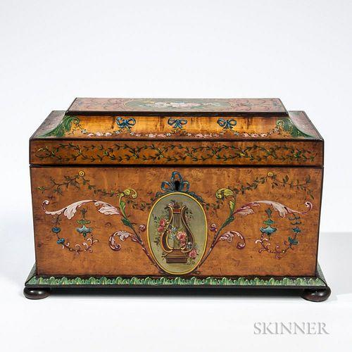 Edwardian Painted Tea Caddy