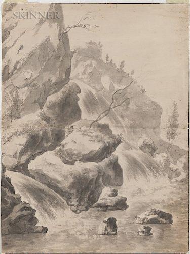 School of Jan Dirksz Both (Dutch, 1618-1652)  Rushing Waterfall