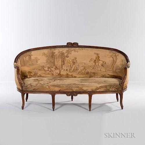 Louis XV-style Upholstered Walnut Settee
