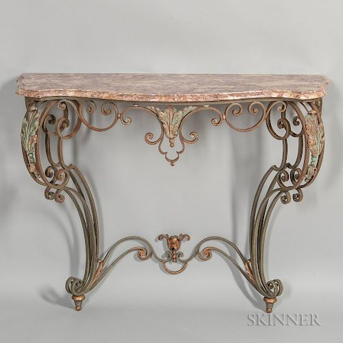 Painted Wrought Iron Marble-top Console Table