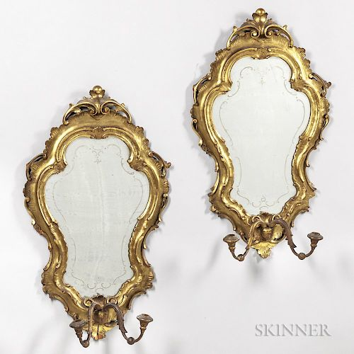 Pair of Venetian Rococo-style Mirrored Wall Sconces