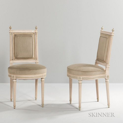 Set of Six Louis XVI-style Painted Side Chairs