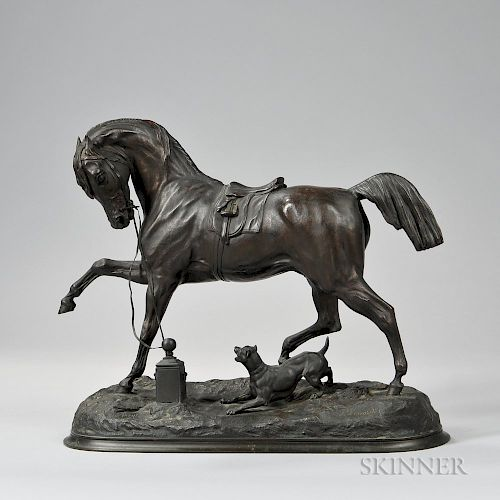 Pierre Lenordez (act. France, 1815-1892)    Angelo  /Bronze Figure of a Horse