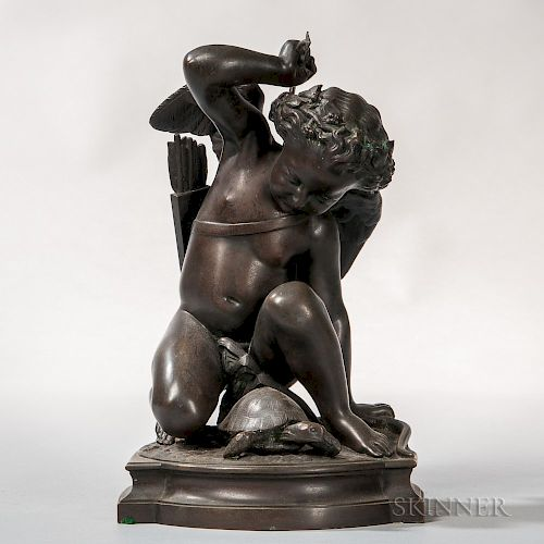 After Louis Elias Robert (French, 1821-1874)    Bronze Figure of Cupid with a Turtle