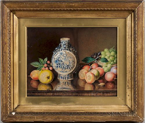 Alexander Stanesby (British, 1832-1916)  Still Life with Fruit and Blue and White Moon Flask