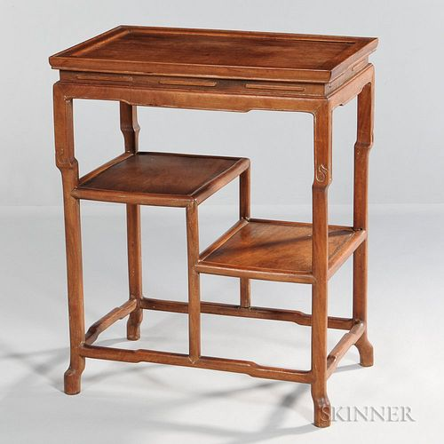Chinese Hardwood Two-tier Side Table