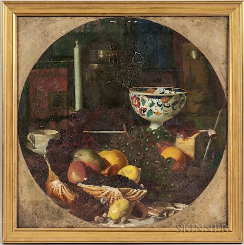 Continental School, 19th Century  Dutch-style Still Life with Shells, Fruit, Urn, and Chinese Tea Box