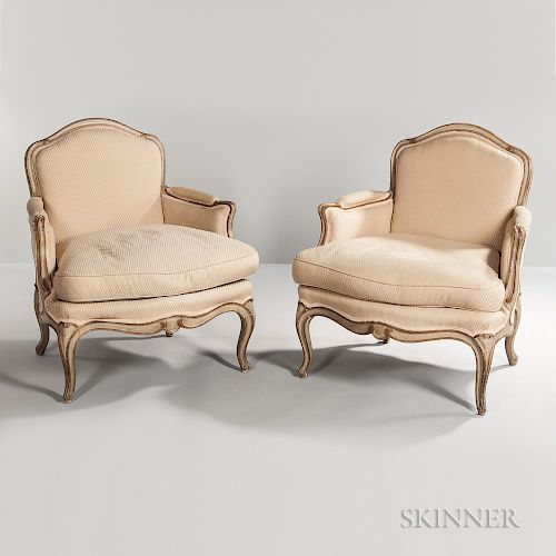Pair of Louis XV-style Painted Bergeres