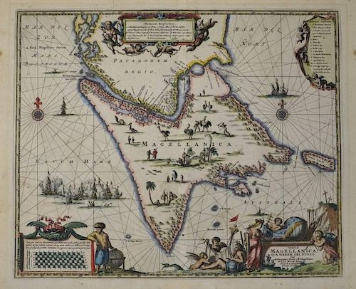 Tip Of South America Map.John Ogilby Map Of Southern Tip Of South America From America