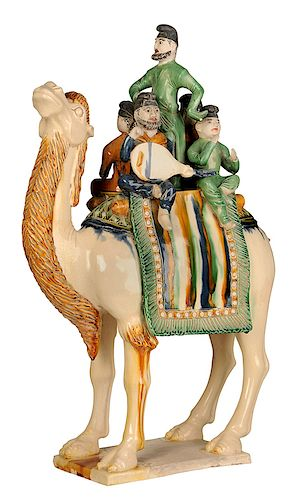 Tang Style Glazed Ceramic Camel and Riders