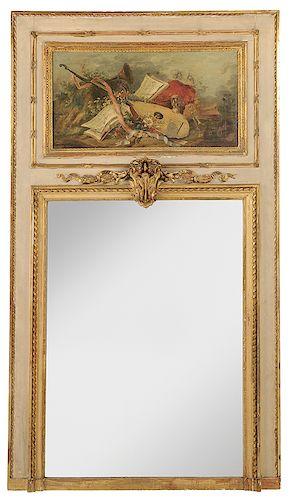 Louis XVI Parcel-Gilt Trumeau Mirror