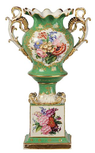 Old Paris Porcelain Floral Decorated Urn