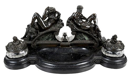 Patinated Bronze and Marble Figural Inkwell