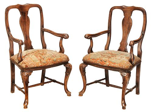 Pair of Queen Anne Style Open Arm Chairs
