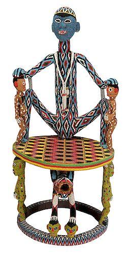 Bamileke Beaded Figural Throne