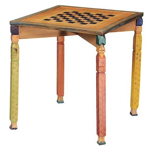 Gerard Rigot Painted and Carved Checkerboard Table