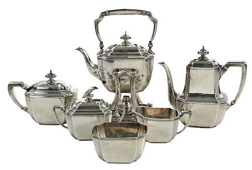 Six Piece Tiffany Sterling Hampton Tea Service