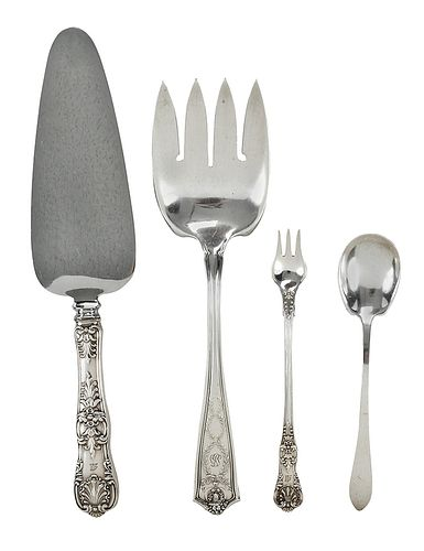 Four Pieces Tiffany Sterling Flatware