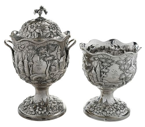 Warner Coin Silver Repousse Waste and Sugar
