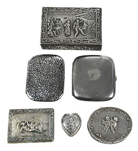 Six German Silver Boxes