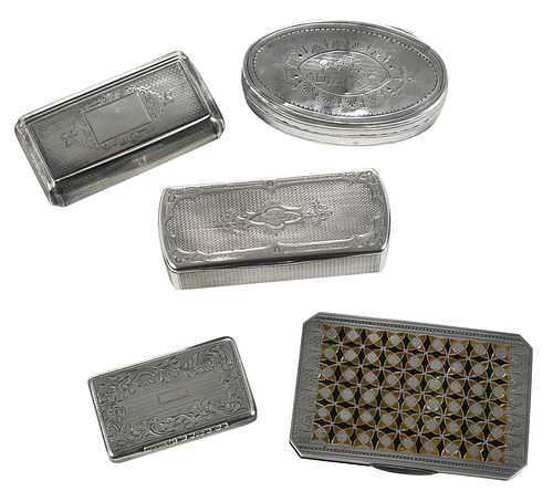 Five French Silver Boxes