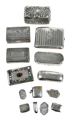 12 English Silver Boxes