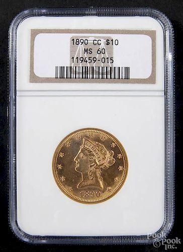 Gold Liberty Head ten dollar coin, 1890 CC, NGC MS-60.