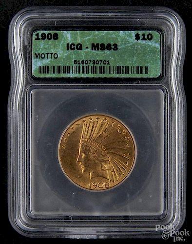 Gold Indian Head ten dollar coin, 1908, ICG MS-63.