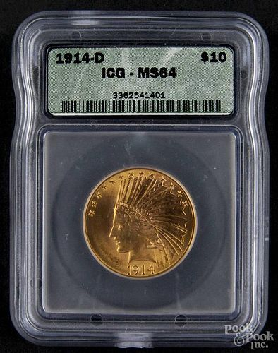 Gold Indian Head ten dollar coin, 1914 D, ICG MS-64.
