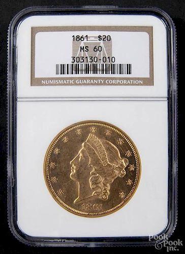 Gold Liberty Head twenty dollar coin, 1861, NGC MS-60.