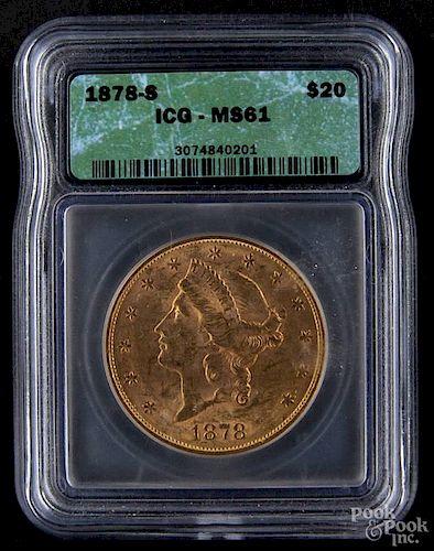 Gold Liberty Head twenty dollar coin, 1878 S, ICG MS-61.
