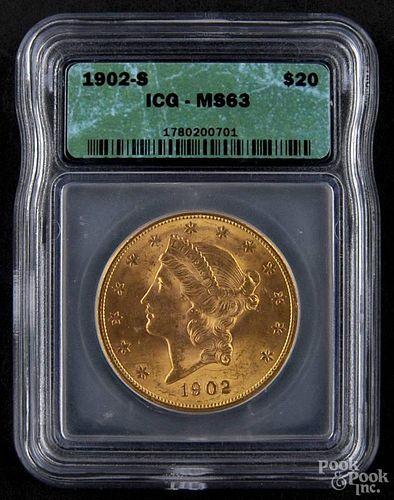 Gold Liberty Head twenty dollar coin, 1902 S, ICG MS-63.