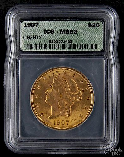 Gold Liberty Head twenty dollar coin, 1907, ICG MS-63.