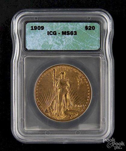 Gold Saint Gaudens twenty dollar coin, 1909, ICG MS-63.