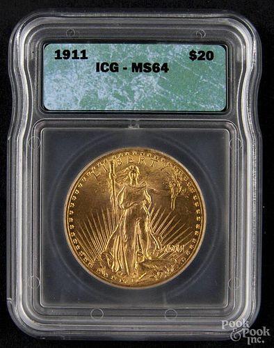 Gold Saint Gaudens twenty dollar coin, 1911, ICG MS-64.