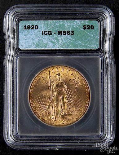 Gold Saint Gaudens twenty dollar coin, 1920, ICG MS-63.