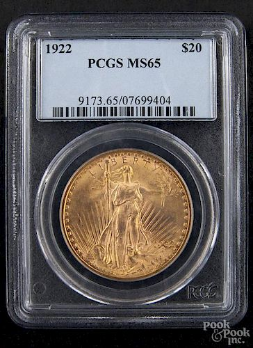 Gold Saint Gaudens twenty dollar coin, 1922, PCGS MS-65.